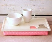Laptop Lap Desk or Breakfast serving Tray - Hand painted Two Cats and Mouses with Pink Polka Dot Pillow