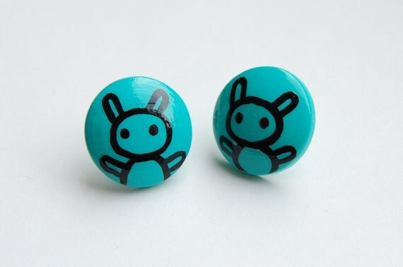 Post earrings - Hand painted rabbit - aqua