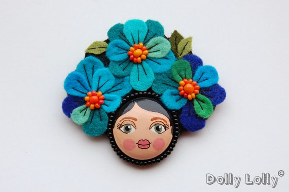 Felt flower girl brooch - blue