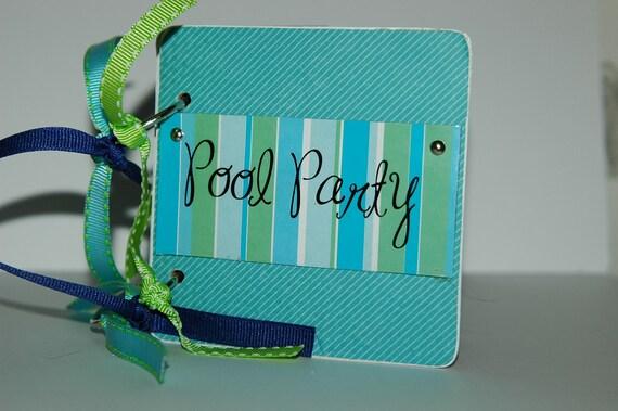 Pool Party Mini Scrapbook Album swim premade chipboard pages