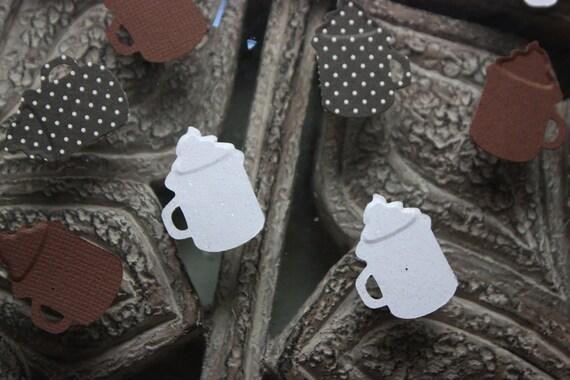 150 Hot Chocolate Embossed Confetti/Scrapbooking/Embellishment/Card making/Invitations/Die Cut/Cutout