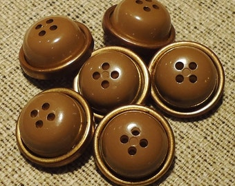 """CLEARANCE! Chunky Sepia and Gold - 15/16"""" (23mm) Unusual Vintage Buttons - Set of 6"""