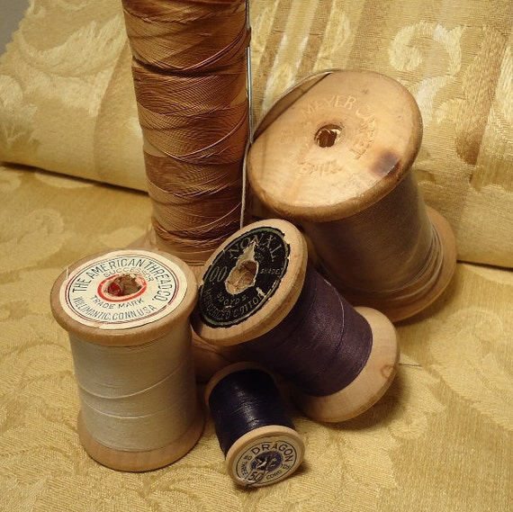 The Tall & Short Of It - 5 Old Spools of Thread