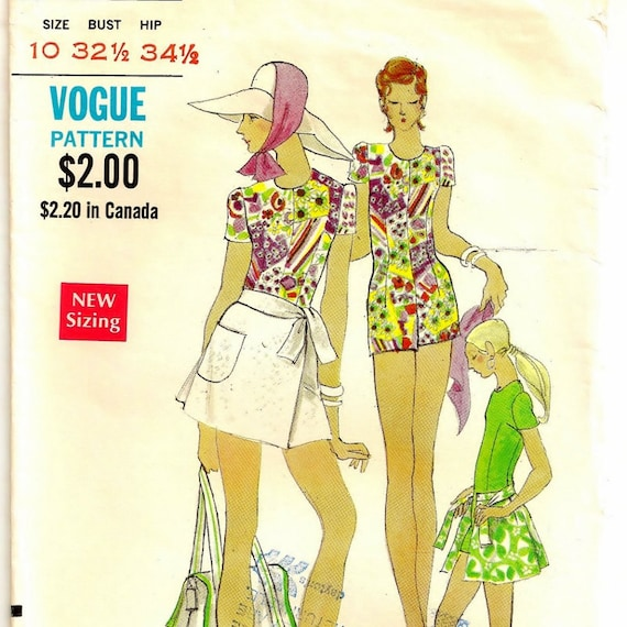 """1970 Jumpsuit with Wrap Skirt Pattern - Size 10, Bust 32-1/2"""""""