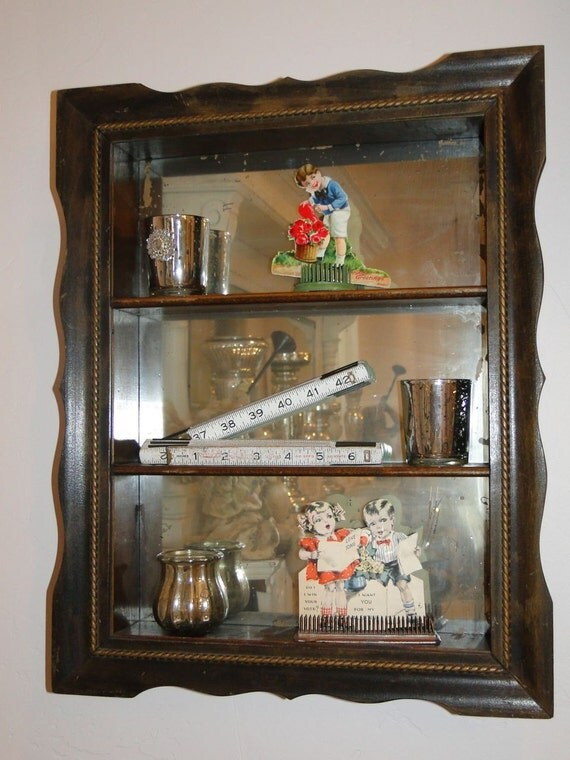 Antique Shadow Box Frame With Mirror