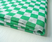 Vintage Fabric Voile with Green and White Checks, 3 and a half yards