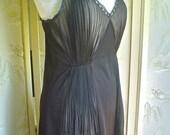 Sheer Black Negligee Nightgown or Slip Crystal Pleated Nylon Hotsy Totsy