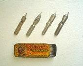 Tiny Antique Box of Vintage Steel Pen Nibs -- Spencerian Steel Pens