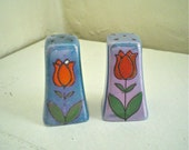 Salt and Pepper Shakers Blue Lustreware with Red Tulips Vintage Hand Painted Made in Japan