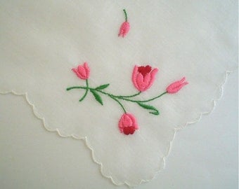 Hankie with Embroidered Pink Flowers Scalloped Vintage Handkerchief
