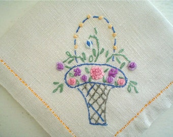 Vintage Linen Napkin Set 1920s with Embroidered Flower Baskets 1930s Table Linens