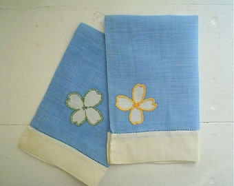 Linen Towels, Blue and White Hemstitched with Dogwood Flowers, Set of Two Vintage Cutters
