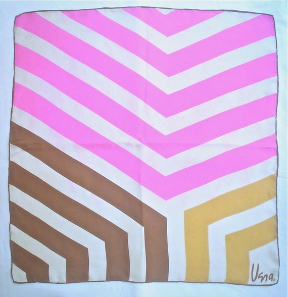 Vera Mod Pink Stripes Silk Scarf Colorful and Super Crazy Treasury Item