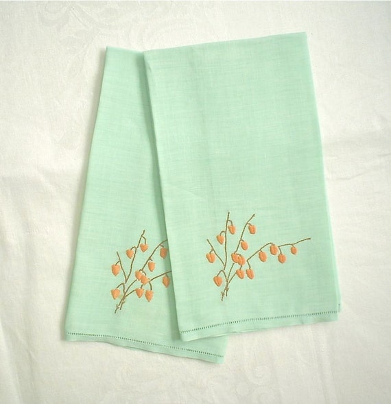 Pale Green Linen Hand Towels Set Vintage Embroidered Chinese Lantern or Fall Leaves