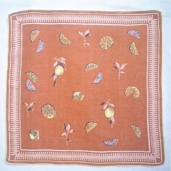 Faith Austin Linen Hankie Lemon Slice Autumn Harvest Vintage Print Handkerchief