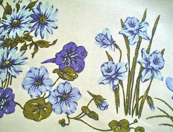 Linen Tablecloth with Blue Floral Garden Border Print Vintage