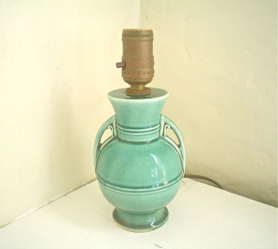 Art Deco Ceramic Lamp -- Turquoise and Round, yet Urn Shaped Small Table Lamp