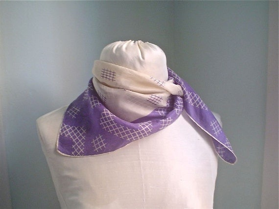 Lavender and White Silk Scarf with Art Deco Checks and Squares