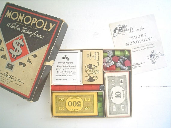 Vintage Monopoly Set -- Diamond Box 1940s
