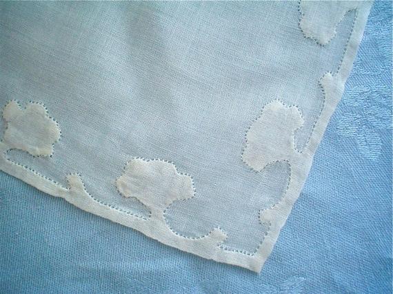 Hankie with White Applique Hem Madeira Style Vintage Handkerchief