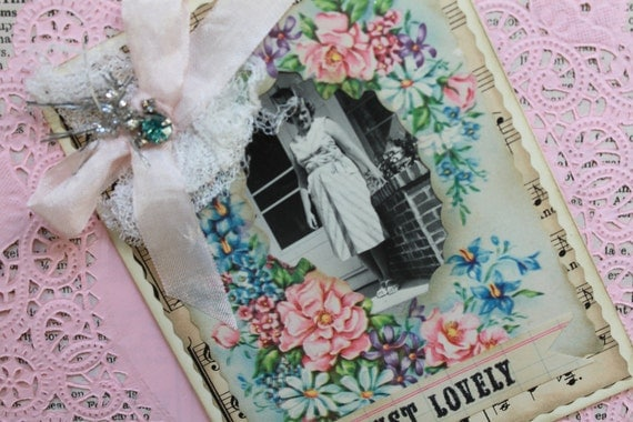 Mothers Day Floral Card.....Vintage Photo