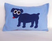 WaltersDogs 12 x 18 Fleece and Satin Pillow in Royal