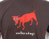 Mens WaltersDogs T-Shirt in Chocolate- Size L