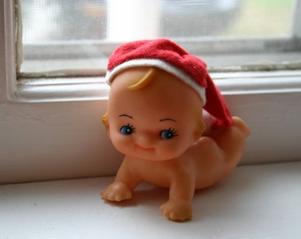 Vintage Plastic Santa Baby Christmas Decoration