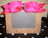 Boutique Picture Frame Hot Pink Glitter Leopard with Bow and Crystal Custom