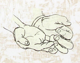 Giving/Pleading Hands Woodcut and Screenprint