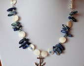 Sodalite and Mother of Pearl Necklace with Anchor Charm