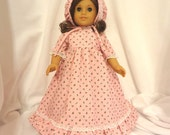 Pink floral, long dress for 18 inch dolls, with white lace trim.