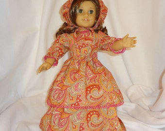 Double-skirted paisley, long dress for 18 inch dolls, with pink lace trim.