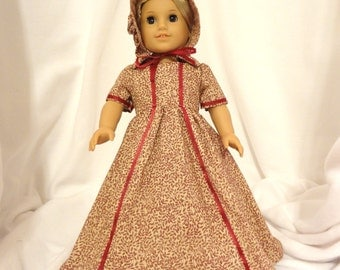 Beige and Cranberry, long dress for 18 inch dolls, ribbon trimmed.