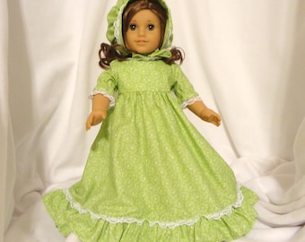 Lime green, cotton print, long dress for 18 inch dolls, with white lace trim.