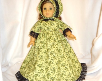 Green cotton floral print, long dress for 18 inch dolls, with black lace trim.