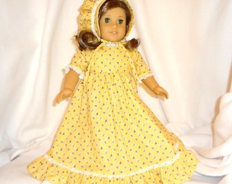 Sunny Yellow floral, long dress for 18 inch dolls, with white lace trim.