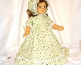 Pistachio green floral, long dress for 18 inch dolls,  with white lace trim.