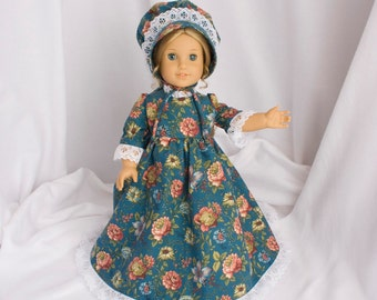 Teal floral print, long dress for 18 inch dolls, with white lace trim.