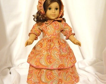 Double-skirted paisley doll dress for 18 inch dolls.
