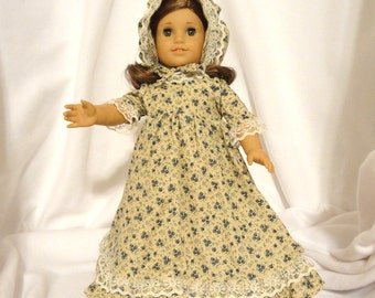 Beige and blue floral, long dress for 18 inch dolls, with 3/4 inch beige lace trim.