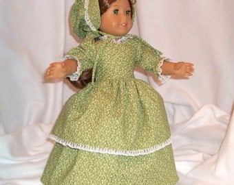 Green floral print, long dress for 18 inch dolls, double skirted, with white lace trim.