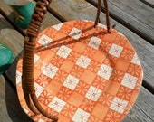 Vintage Tray / Plate 1970s Retro Ceramic Orange Serving Tray / Plate with Wicker Handle Japan
