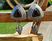 Vintage Earrings Silver Tone Metal Triangle Clip On with Black Triangle Bead Art Deco Retro 1980s
