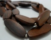 Vintage Necklace Wood Triple Strand with Silver Tone Metal Beads Retro Art Deco 1970s