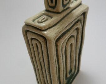 Vintage Vase Art Deco Retro Green Textured 1980s Pottery Glazed Home Decor House Decor Unique