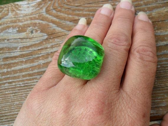 Rock Ring Green Semi - Transparent Square Adjustable - Treasury Item