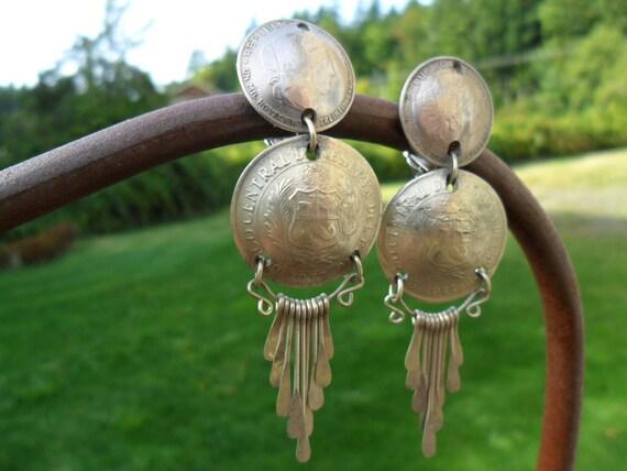 Vintage Earrings Marked 1977 Silver Coin Clip On Dangle Art Deco Retro Boho 1980s