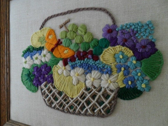 Vintage Art Framed Crewel Needlepoint Embroidery Tapestry Basket Bouquet Yarn Art Fiber Art