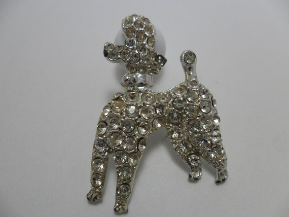 Vintage Brooch / Pin GLASS Rhinestones Poodle Dog Silver Tone Metal 1950s Mid Century